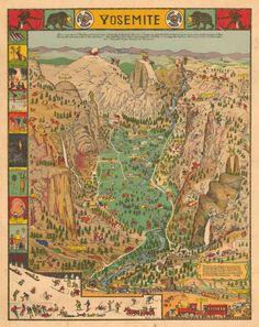 Vintage Yosemite valley tourist map.