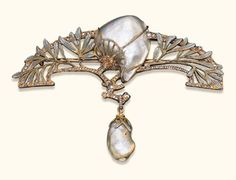 fouquet jewelry | ... NOUVEAU PEARL, ENAMEL AND DIAMOND PENDENT BROOCH, BY GEORGES FOUQUET