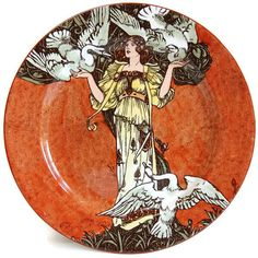 Antique Royal Doulton Art Nouveau Lady and Swans Grimm's Fairytale... ($165) ❤ liked on Polyvore featuring home and home decor