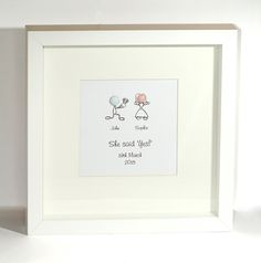 Engagement Framed present Personalised – Capture that special moment / date – Engaged | Samantha K Gifts