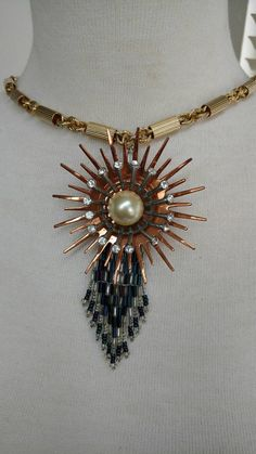 Boho necklace// summertime jewelry// mixed metals // long necklace // art deco feel // hippie chic // upcycled necklace // unusual // gift by truthorwear. Explore more products on http://truthorwear.etsy.com