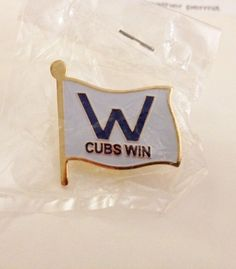Chicago Cubs Win! Flag Lapel Pin Blue W NEW! #ChicagoCubs