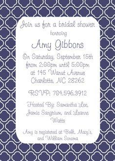 Navy Blue and White Preppy Damask Bridal Shower Wedding Invitation Card Personalized JPEG Printable White. $8.00, via Etsy.