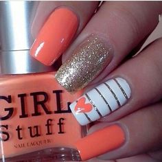 Easy Valentine's Day Nail Art Ideas 2019 easy valentine's day nail art ideas nail designs; acrylic easy valentine's day nail art ideas nail designs; Diy Nails, Swag Nails, Grunge Nails, Nagellack Design, Nail Polish, Gold Polish, Diy Nail Designs, Coral Nail Designs, Awesome Nail Designs