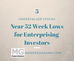 5 Companies for Enterprising Investors Near 52 Week Lows - February 2017  There are a number of great companies in the market today. By using the ModernGraham Valuation Model, I've selected the five undervalued companies reviewed by ModernGraham trading closest to their 52 week low. Each of these companies has been determined to be suitable for the Enterprising Investor according to the ModernGraham approach.