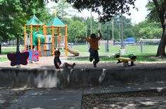 Big and little playground equipment at Tanglewood Park in Houston!    http://www.bigkidsmallcity.com/2015/07/tanglewood-park-visiting-houstons-parks-one-week-at-a-time/