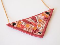 Mystic nature, hand embroidered necklace