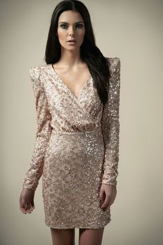 74b5bf484e2 Boutique Amy Sequin Wrap Padded Shoulder Dress Bohemian Party
