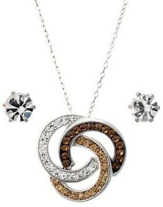 Silver Plate Tri-Tone 3 Ring Pendant and Stud Crystal Set