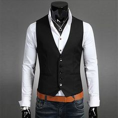 Gender: Men Item Type: Vests Model Number: EE2012 Style: Casual Fabric Type: Broadcloth Material: Cotton,Polyester Brand Name: Lanshifei Color: Black, Coffee, Navy Blue Style: Formal, Business, England,British Size (Men's): M-XXL