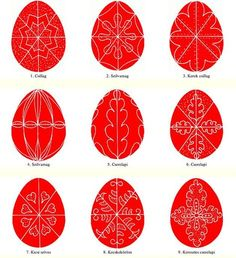 Traditional Hungarian hand painted Easter Eggs motifs.More than 300 here.Tojásfestés technikák (300+ minták)