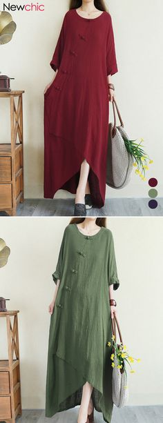 601a6f07e7 Cheap best Solid Color Frog Button Irregular Vintage Maxi Dresses on  Newchic