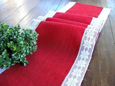 Christmas table runner red burlap table runner with white and silver snowflake lace, Rustic Christmas Custom Listing for CarrieChristmas Table Runner Winter Table Decor Read by HotCocoaDesignNatural Burlap Table Runner Wedding Table Runner with count