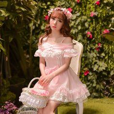 Sweet Bowknot Chiffon and Lace Pink Short Sleeve Lolita Dress
