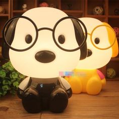 Cute Puppy With Glasses Night Light