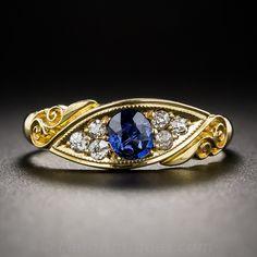 Antique English 18K Sapphire and Diamond Ring, ca. 1910