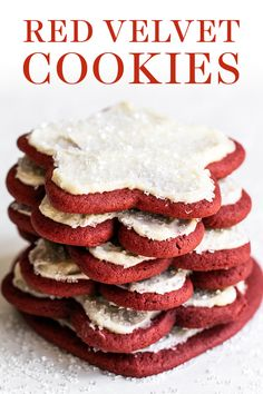 Easy cut-out Red Velvet Cookies are soft and colorful, perfect for of July, Christmas, Valentine's Day! Can be topped with homemade cream cheese frosting and festive sprinkles. Great for kids or a crowd! Recipe By Tessa Arias Red Velvet Cookie Recipe, Red Velvet Recipes, Red Velvet Cookies, Chocolate Cookie Recipes, Best Cookie Recipes, Chocolate Chip Cookies, Holiday Recipes, Winter Recipes, Cream Cheese Cookies