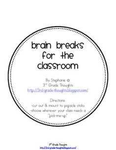 This is a collection of 35 different Brain Breaks for the classroom. These can be used as transitions, breaks in the middle of an activity, somethi...