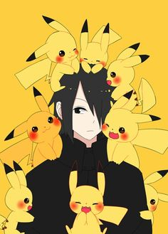 Sasuke and Pikachu artist: -皮卡晴 #Naruto