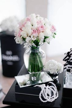 Jewelry Box + Floral Arrangements from a Chanel Inspired Birthday Party via Kara's Party Ideas | KarasPartyIdeas.com (11)