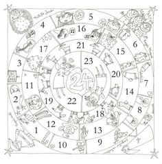 Circular Advent Calendar--would be fun to make our own version using the Jesse Tree images Christmas Calendar, Christmas Games, Christmas Activities, Christmas Countdown, Christmas Printables, Christmas Colors, Christmas Projects, Christmas And New Year, Winter Christmas