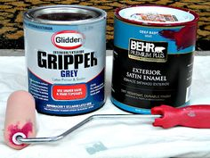 My front door is aluminum (or metal, I'm not exactly sure), so before I began to paint I used a latex primer called Gripper made by Glidden, which was  recommended by the Home Depot. Then I used a sponge roller to paint a total of 4 coats on the door, (those pesky red tones can be such a hassle).
