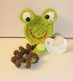 Pacifier - Binky Keeper - Clip - Frog - Hand Crafted. $10.00, via Etsy.