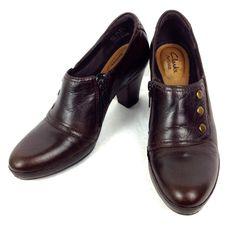 Clarks Shoes Womens Brown Leather Booties Heels 7.5 N Narrow #Clarks #Booties #WeartoWork