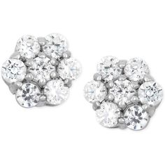 Wrapped in Love Diamond Cluster Flower Stud Earrings (1/2 ct. t.w.) in... (1,325 CAD) ❤ liked on Polyvore featuring jewelry, earrings, no color, 14k white gold earrings, 14k earrings, white gold earrings, stud earrings et 14 karat gold earrings