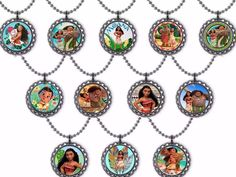 12x Disney Moana Inspired Party Favor U Choose Necklace, Keychain Or Zipper Pull  | eBay
