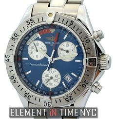 #Breitling Transocean Colt Chronograph 42mm iN Stainless Steel With A Blue Dial Circa 1997-2001 (A53040)