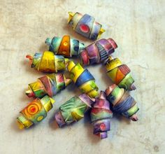 11 Colorful Artisan  Beads - Rolled Beads Polymer Clay