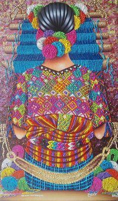 Tejido azul. Guatemala. Weaver Mother by Pedro Arnoldo Cruz Sunu