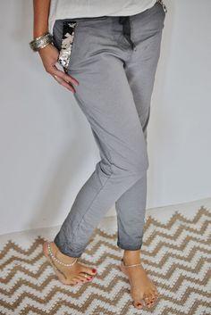 Original Y&S Jogger Baggy Jogginghose mit Pailletten Hose in grau pants Gr.M