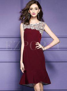 Elegant Lace Stitching Sleeveless Mermaid Dress. Colorful PartyMermaid  DressesClassy ... 3a96fa397084