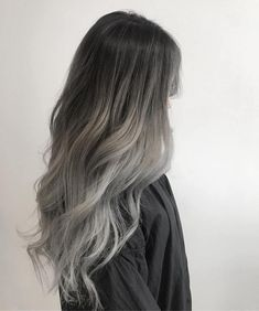 Hair Color Streaks, Ombre Hair Color, Hair Highlights, Hair Colour, Brunette Color, Color Highlights, Silver Ombre Hair, Brown Ombre Hair, Gray Ombre