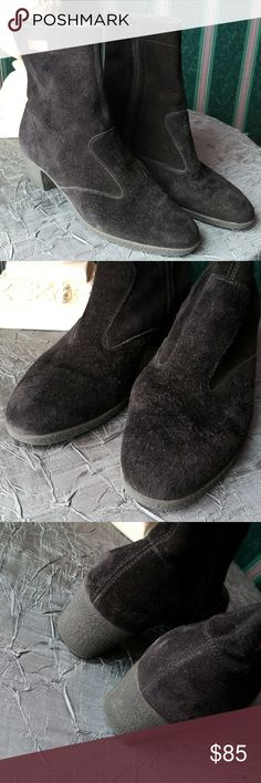 """Salvatore Ferragamo Italian Black Suede Booties Gentle pre-loved condition   Black Suede inner side zip booties by Salvatore Ferragamo Italian made Sophisticated Comfort in this Shoe Size 7 B Non Slip soles Heel height 1 3/4"""" Shaft 6""""  Be Sure To Check Out The Rest of My Listings For Additional Mens Women's Kids Footwear and Sandals in all shapes and sizes   ✔ BUNDLE UP FOR SAVINGS  ✔ Salvatore Ferragamo Shoes Ankle Boots & Booties"""