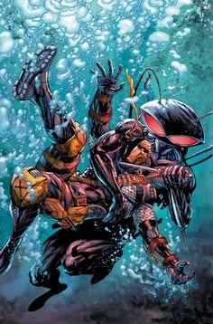 Deathstroke vs Black Manta by Tyler Kirkham Dc Comics Vs Marvel, Heros Comics, Dc Comics Art, Dc Heroes, Dc Deathstroke, Deathstroke The Terminator, Deadshot, Deathstroke Cosplay, Aquaman