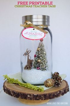 Christmas Teacher Gift Idea and FREE Printable by Love The Day:: A Gallon Sized Snow-Globe!!
