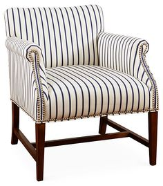 Ashley Striped Accent Chair, Navy/White | Laid-Back Luxuries | One Kings Lane