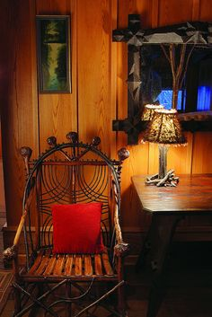 Handcrafted chair in the Treetop Suite at Lake Placid Lodge NY