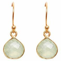 "Handcrafted gold-plated earrings with a faceted prehnite stones.  Product: Pair of earringsConstruction Material: Gold-plated brass and prehniteColor: GoldFeatures:  HandcraftedFish hooks 1"" Drop Dimensions: 0.5"" H each (charm)Note: Dimensions are approximateCleaning and Care: Wipe clean with a jewelry cloth"