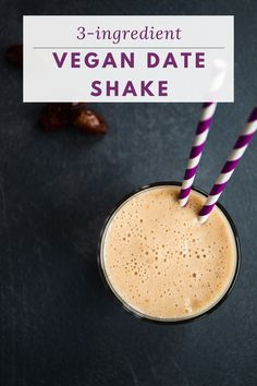 Chilling, rich and creamy, this vegan date shake takes the definition of a dessert smoothie to a whole new level. Enjoy a healthy summer dessert! Healthy Milkshake, Vegan Dating, Medjool Dates, Vegan Smoothies, Frozen Banana, Summer Drinks, 3 Ingredients, Vegan Vegetarian, Sweet