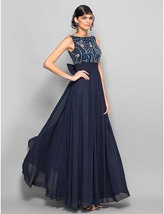 una línea de vestidos de noche de gasa primicia piso de longitud (1164710) – CLP $ 83.817