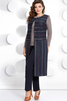 """Model 283 Dark Blue Mubles- Модель 283 темно-синий Мублиз Mubliz suit, dark blue (model – Belarusian knitwear in the online shop """"Sewing tradition"""" - Urban Style Outfits, Stylish Outfits, Fashion Outfits, Mature Women Fashion, Plus Size Fashion For Women, Baggy Dresses, Nice Dresses, Blazers For Women, Suits For Women"""