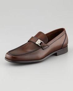 Tazio Side Ornament Loafer, Brown by Salvatore Ferragamo at Neiman Marcus.