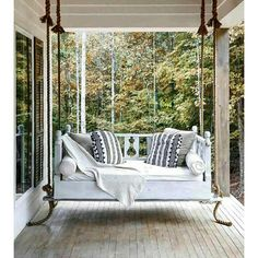 outdoor porch bed swing 59 - iTs Home Ideas Outdoor Porch Bed, Outdoor Living, Porch Swing Beds, Outdoor Rooms, Front Porch Swings, Screened In Porch Furniture, Patio Swing, Diy Porch, Outdoor Patios