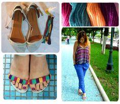 Transforma unas sandalias corrientes en unas llenas de color solo con hilo y pegamento