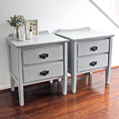 SOLD -- Pair of gorgeous Country Style bedside tables in Paris Grey {$315} local pick up #brisbane #qld #womenwhodiy #queensland #vintage #vintagefurniture #furniturerestoration #restoredfurniture #forsale #etsy #countrystyle #interiors #bedsidetables #ascp #anniesloanchalkpaint #recycledfinds #brisbanecreatives