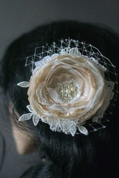 Bridal Lace Flower #rustic #vintage #beige #hair #accessories #wedding #flower #headpiece